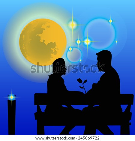 Shadow couple sit in the garden in a blue background. - stock vector