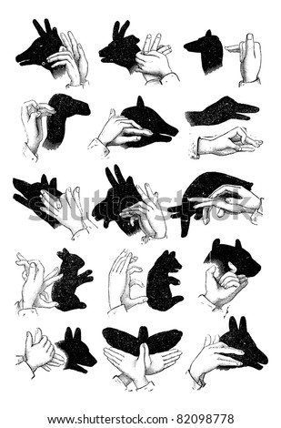 Shadow hand puppets - Reindeer, chamois, sheep, camel, pig, goose, wolf, goat, elephant, hare, bear, ox, dog, butterfly, ass, vintage engraved illustration. Trousset encyclopedia (1886 - 1891). - stock vector