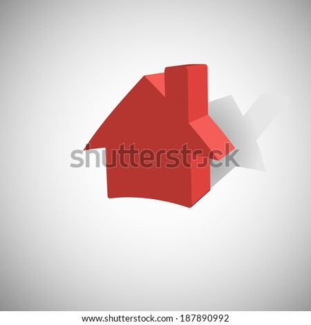 Shadow house icon, vector illustration with gradients.
