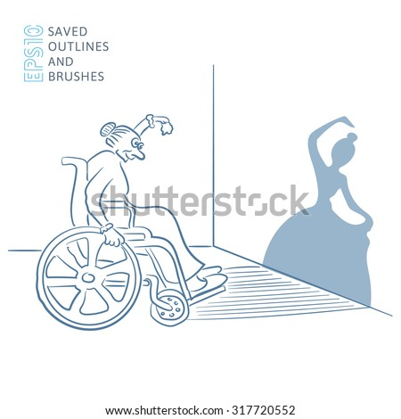 Shadow illusion. An old woman in a wheelchair shows a young ballerina - stock vector