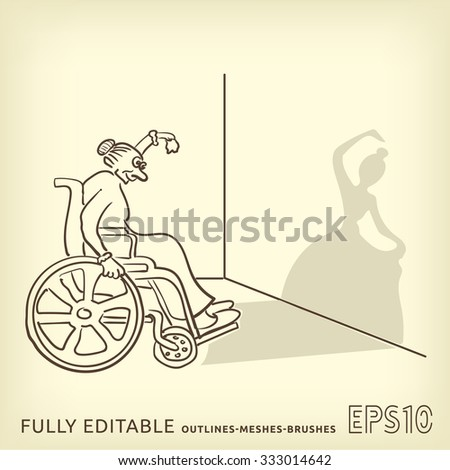 Shadow illusion. An old woman in a wheelchair shows a young ballerina. - stock vector