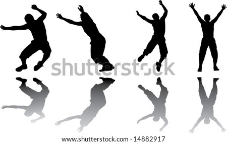 shadow jumping silhouette vector image