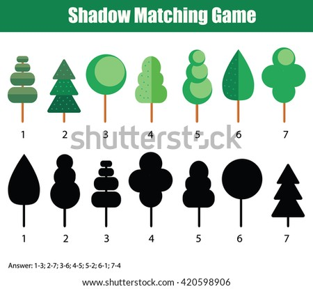 Shadow matching game for kids. Find the right shadow task. Children educational game with answer - stock vector