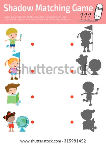Shadow Matching Game for kids, Visual game for kid. Connect the dots picture,Education Vector Illustration. - stock vector