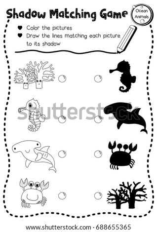 shadow matching game of ocean animals for preschool kids activity worksheet layout in a4 coloring printable - Kids Activity Worksheet