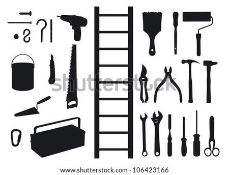 Shadows of tools - stock vector
