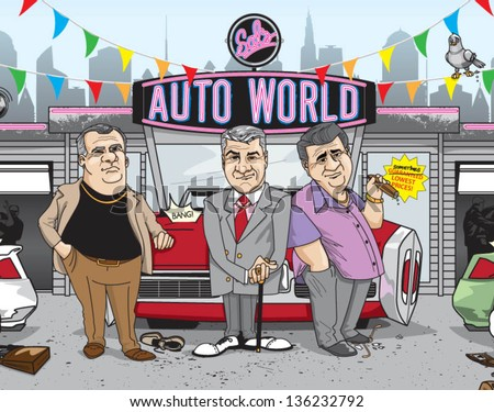 shady car salesmen - vector (can enlarge to any size you want) - stock vector
