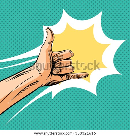 Shaka sign gesture comic book pop art, vector illustration