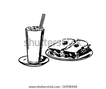 Shake And Sandwich - Retro Clip Art - stock vector