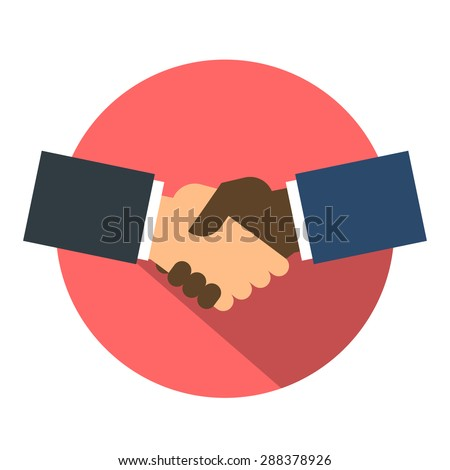 Shake hand flat icon. Shaking hands business icon on a red. Agreement shaking hands. shaking hands button. Cooperation concept. Vector illustration. isolated. - stock vector