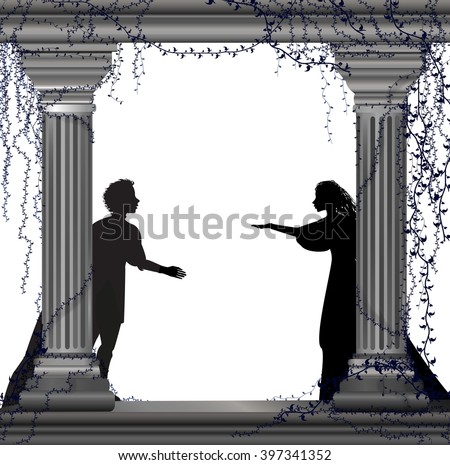 Shakespeare`s play Romeo and Juliet, romantic date, silhouette, love story, vector - stock vector