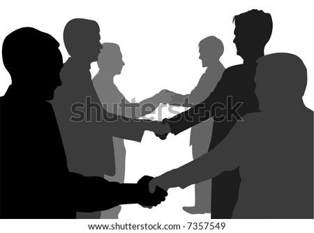 shaking hands business partners vector - stock vector