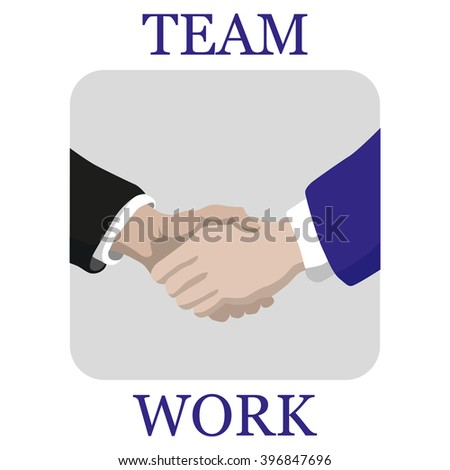 Shaking  hands business vector illustration with abstract rays, symbol of success deal, happy partnership, greeting shake, casual handshaking - stock vector