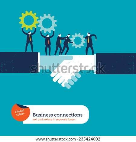 Shaking hands with two businessmen sharing gears. Vector illustration Eps10 file. Global colors. Text and Texture in separate layers. - stock vector