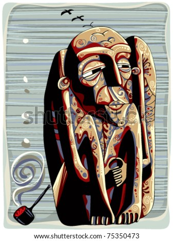 Shaman with pipe tribal graphic stylized illustration. - stock vector
