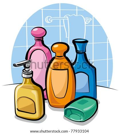 shampoo and soap - stock vector