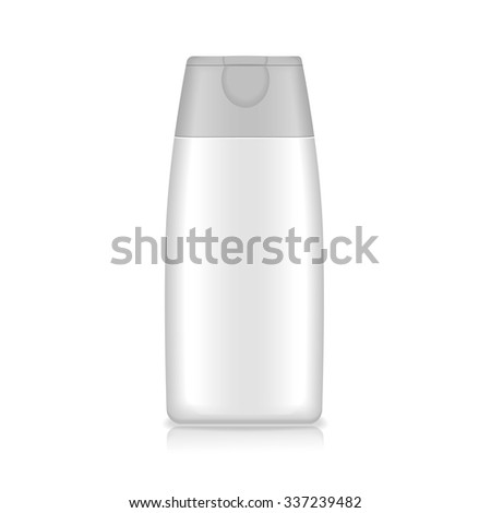 Shampoo, gel or lotion white plastic bottle  on white background Isolated. Product packing Vector  - stock vector