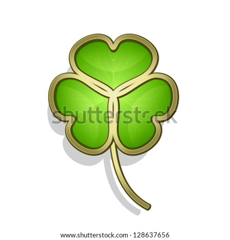 Shamrock leaf on white, gold clover icon for St. Patrick�s Day, EPS10 vector