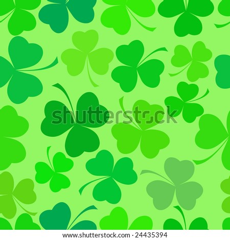 Shamrock leave cloverleaf grass  seamless saint Patrick day pattern. - stock vector