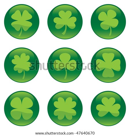 Shamrocks icon set - vector