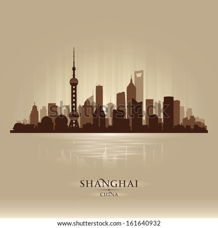 Shanghai China city skyline vector silhouette illustration - stock vector