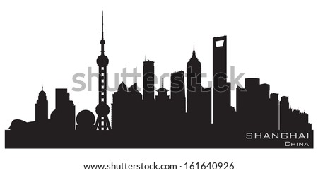 Shanghai China skyline Detailed vector silhouette - stock vector