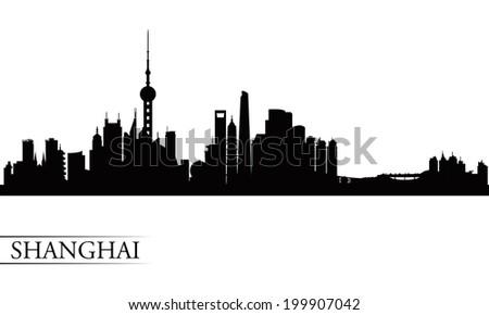 Shanghai city skyline silhouette background, vector illustration  - stock vector