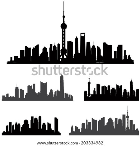 Shanghai skyline set. Buildings silhouette collection. - stock vector