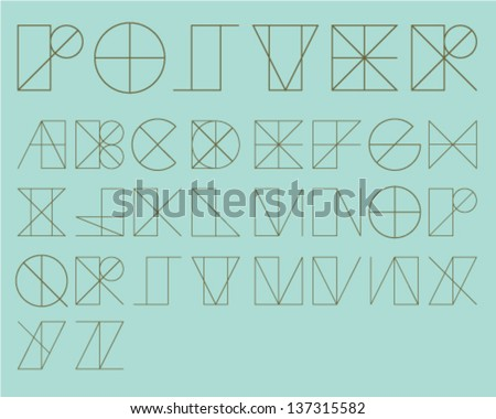 Shape Guide Font - stock vector