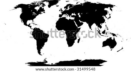 Shape of the Earth continents. Detailed world map silhouette. This illustration is based on the maps of www.cia.gov. - stock vector