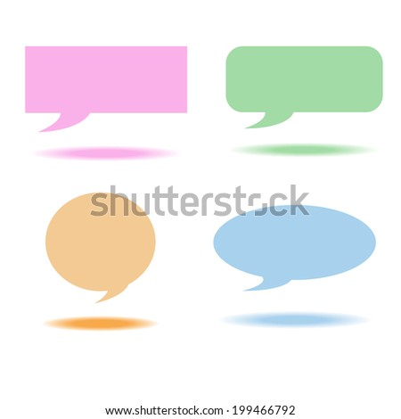 shape Speech bubbles box color and shadow - stock vector