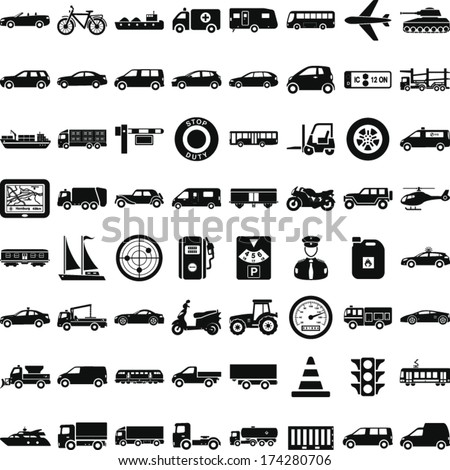 Shapes of transport sector - stock vector
