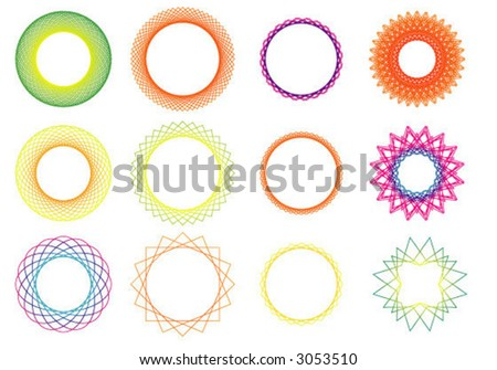 shapes rotated to form circular patterns - stock vector