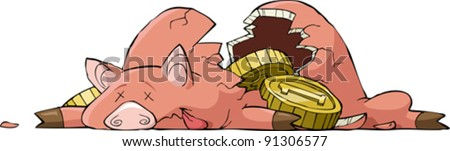 Shards of pig piggy bank, vector illustration - stock vector