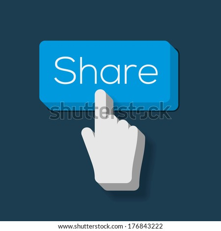 Share Button with Hand Shaped Cursor, vector image.  - stock vector