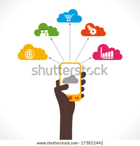 share information using mobile or purchase product concept vector - stock vector