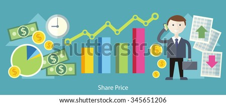 Share price exchange concept design. Business finance, stock money, currency market, chart investment, financial graph, trade analysis, data sell, broker and economic, invest illustration - stock vector