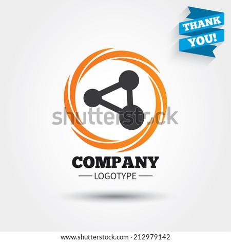 Share sign icon. Link technology symbol. Business abstract circle logo. Logotype with Thank you ribbon. Vector - stock vector