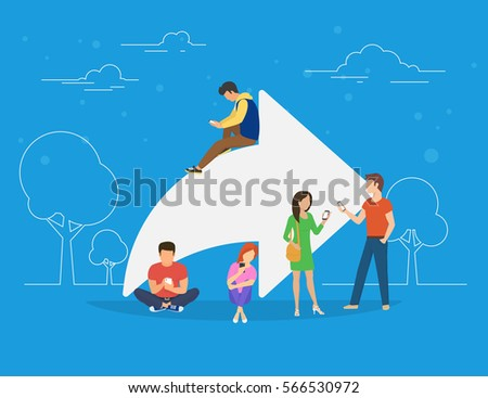 Share symbol concept illustration of young people using mobile smartphone for sharing posts in social networks. Flat people addicted to posting images and news sitting on big symbol