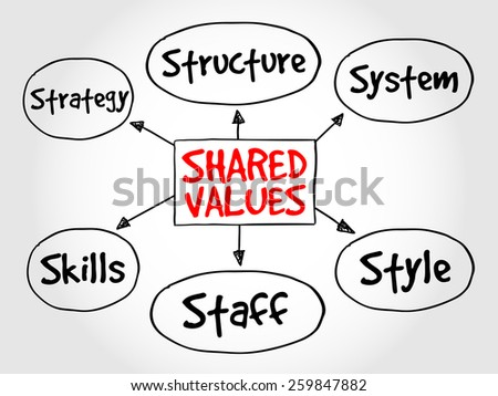 Shared values management business strategy mind map concept - stock vector