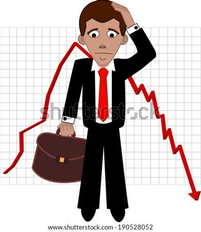 Shares fall, sad broker vector illustration  - stock vector