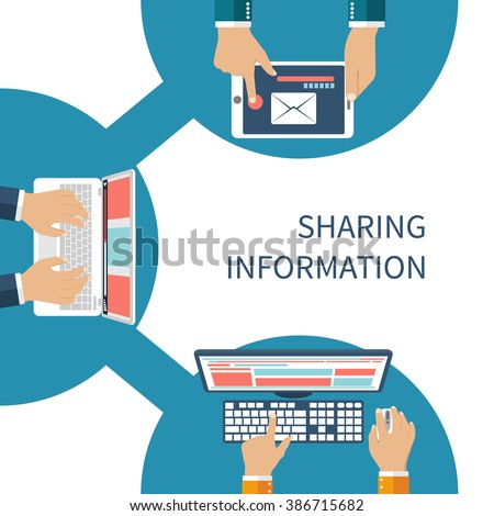 Sharing information concept vector. Social Network, information exchange, data, web, internet. Connection and share. Flat design. Global communication. Vector illustration. User device on sign share. - stock vector