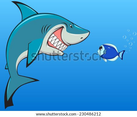 shark and fish - stock vector