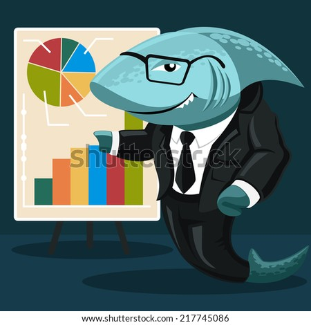 shark business. Creative concept of the shark in the form of a businessman in a white shirt, black suit, tie and glasses indicates a stand with graphs and charts. Vector - stock vector