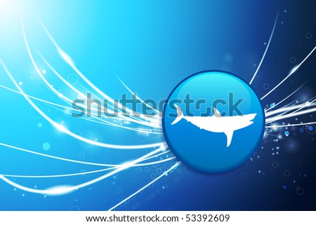Shark Button on Blue Abstract Light Background Original Illustration - stock vector