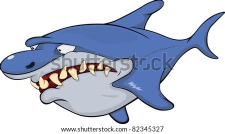 Shark. Cartoon - stock vector