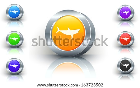 Shark Color Button Set - stock vector
