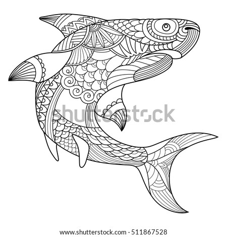 Shark Coloring Book Adults Vector Illustration Stock Vector HD