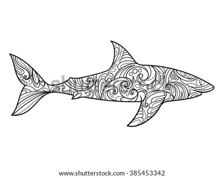 Shark Coloring Book Adults Vector Illustration Stock