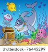 Shark diver with treasure chest - vector illustration. - stock photo